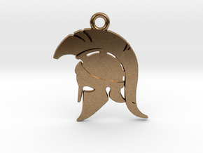 Spartan Warrior Helmet Pendant/Keychain in Natural Brass