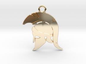 Spartan Warrior Helmet Pendant/Keychain in 14k Gold Plated Brass