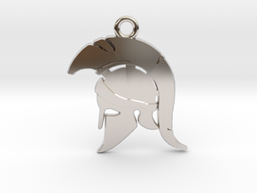 Spartan Warrior Helmet Pendant/Keychain in Rhodium Plated Brass