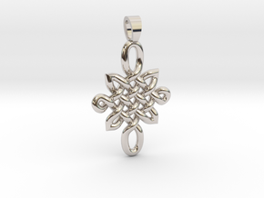 Double celtic knot [pendant] in Rhodium Plated Brass