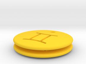 Gemini Symbol Earring in Yellow Processed Versatile Plastic