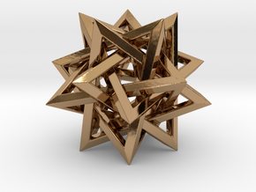 Five Tetrahedra in Polished Brass: Small