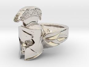 Spartan Helmet Ring in Rhodium Plated Brass: 9 / 59