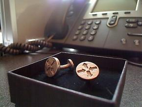 Router Puck Network Cuff Links in Polished Bronzed Silver Steel