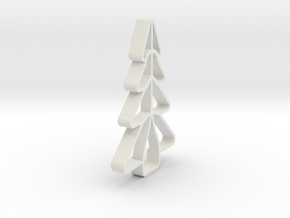Christmas Tree Shape Cookie Cutter Stamp 1 in White Natural Versatile Plastic