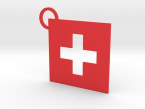 Switzerland Flag Keychain in Red Processed Versatile Plastic
