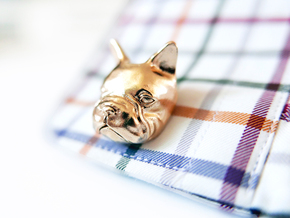 French Bulldog Cufflinks in Natural Brass