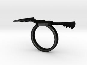Winged Heart Ring in Matte Black Steel
