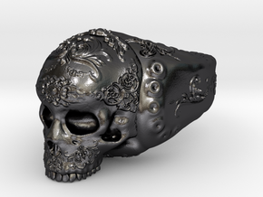 Skull in Polished and Bronzed Black Steel: 5 / 49