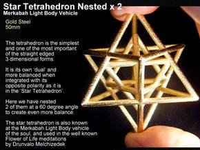 Sacred Geometry: Merkabah2 50mm 2 Nested Star Tetr in Polished Gold Steel