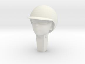 Race slotcar driver head 2 in White Natural Versatile Plastic: 1:32