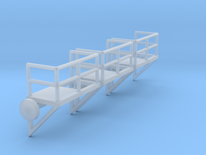 N Scale Cage Ladder Platform Right 3pc in Smooth Fine Detail Plastic