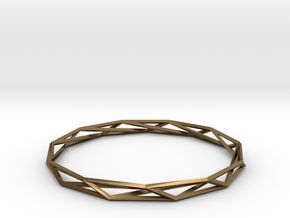 Nonagon-Hendecagon Wireframe Geometoric Ring in Natural Bronze