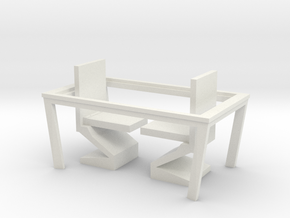 Nether Chair and Table Set in White Natural Versatile Plastic: 1:48 - O