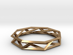 Octagon Wireframe Geometric Ring in Natural Brass