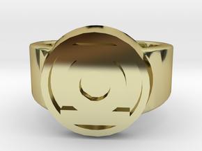 Green Lantern Ring in 18k Gold Plated Brass