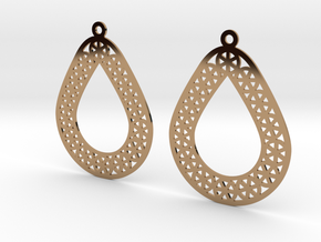 Modern Wagon Wheel Teardrop Earrings in Polished Brass