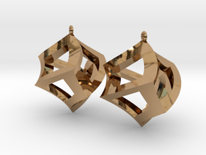 Twisted Cube Earrings in Polished Brass
