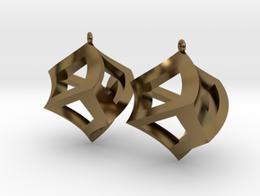 Twisted Cube Earrings in Polished Bronze