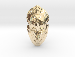 African Mask - Room Decoration in 14K Yellow Gold: Small