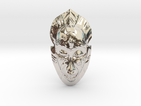 African Mask - Room Decoration in Rhodium Plated Brass: Small
