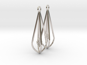 Elegant Bridal Flower Earrings in Rhodium Plated Brass