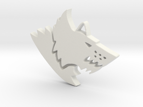 Space Wolf Pendant in White Natural Versatile Plastic