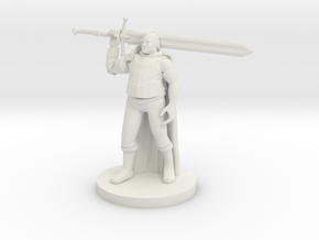 Fluffy Paladin with a big Sword in White Natural Versatile Plastic