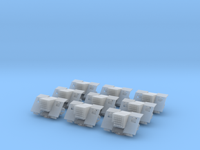 1/144 IJN 12cm AA Rocket mounts Set x9 in Smooth Fine Detail Plastic