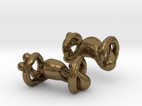 Organic body geometry cufflinks in Natural Bronze