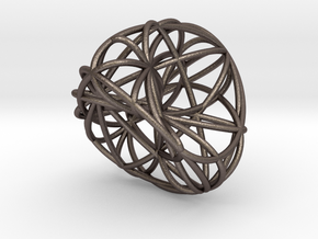 Roman Icosahedron in Polished Bronzed Silver Steel