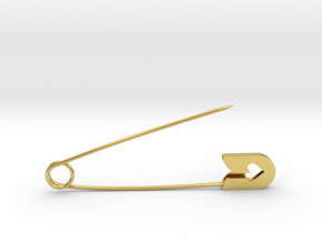 Fashion safety pin in Polished Brass