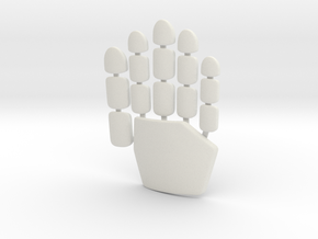 Daft Punk glove plates - right hand in White Natural Versatile Plastic