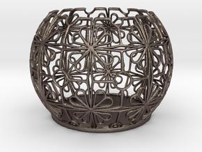Tealight Holder Tiled Orb Indigo in Polished Bronzed Silver Steel