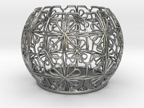 Tealight Holder Tiled Orb Indigo in Natural Silver
