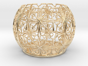 Tealight Holder Tiled Orb Indigo in 14k Gold Plated Brass