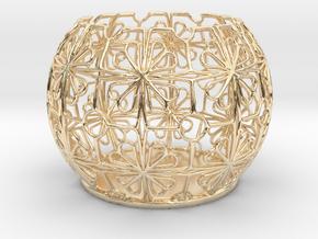 Tealight Holder Tiled Orb Indigo in 14k Gold Plated Brass