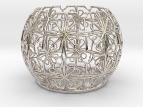 Tealight Holder Tiled Orb Indigo in Rhodium Plated Brass