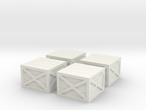 N Scale Wooden Crates in White Natural Versatile Plastic: 1:160 - N