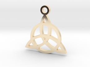 Triquetra Charm Pendant in 14k Gold Plated Brass: Small