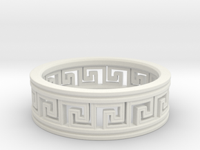 Meander Ring, size 10 (19.76 mm) in White Natural Versatile Plastic