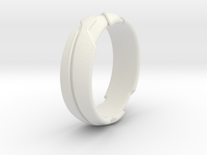 GD Ring - Edge in White Natural Versatile Plastic: 1.5 / 40.5