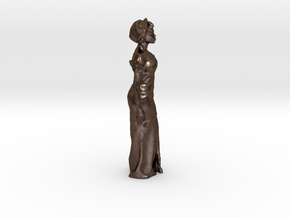 African Woman Miniature in Polished Bronze Steel: Small