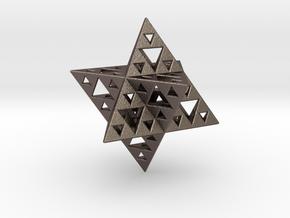 Sierpinski Merkaba IV level 3 1.5 cm (downloadable in Polished Bronzed Silver Steel