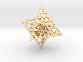 Sierpinski Merkaba IV level 3 1.5 cm in 14K Yellow Gold