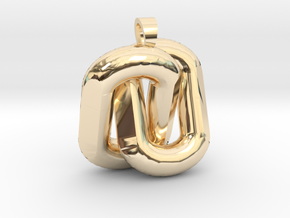 Two interlaced links  [pendant] in 14k Gold Plated Brass