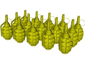 1/10 scale F-1 Soviet hand grenades x 15 in Smooth Fine Detail Plastic