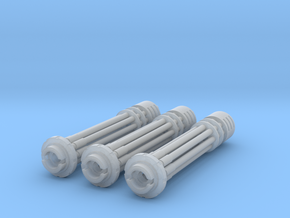 Tsunami Gatling Weapons - Set of 3 (Long Barrel) in Smooth Fine Detail Plastic