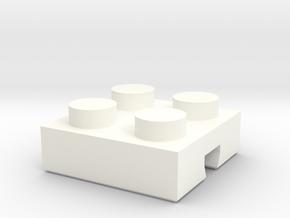 Adapter Lego-Fischertechnik 2x2-1 in White Processed Versatile Plastic
