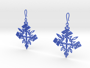 Habesha Cross Earrings Tapered in Blue Processed Versatile Plastic